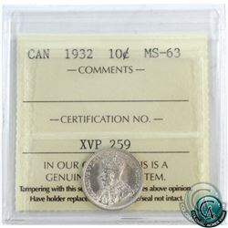 10-cent 1932 ICCS Certified MS-63! A nice choice BU coin with near blast white fields.