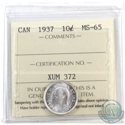 10-cent 1937 ICCS Certified MS-65. Blast white.