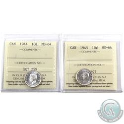 10-cent 1944 & 1945 ICCS Certified MS-64. Blast white coins! 2pcs