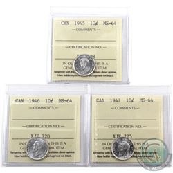 10-cent 1945, 1946 & 1947 ICCS Certified MS-64. All coins are blast white. 3pcs