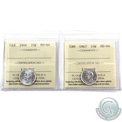 10-cent 1946 & 1947 ICCS Certified MS-64. Blast white coins! 2pcs