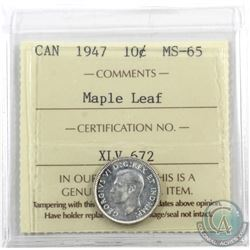 10-cent 1947 Maple Leaf ICCS Certified MS-65.