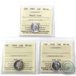 10-cent 1947 Maple Leaf, 1949 & 1950 ICCS Certified MS-64. 3pcs
