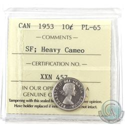 10-cent 1953 SF ICCS Certified PL-65 Heavy Cameo! Low Mintage!