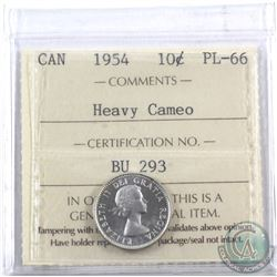 10-cent 1954 ICCS Certified PL-66 Heavy Cameo
