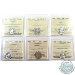 10-cent 1954 MS-64, 1955 MS-65, 1956 Dot MS-64, 1956 MS-64, 1957 Norweb Collection MS-64 & 1959 MS-6