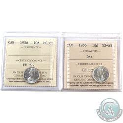 10-cent 1956 Regular & 1956 Dot ICCS Certified MS-65. 2pcs