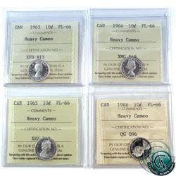 10-cent 1963, 1964, 1965, 1966 ICCS Certified PL-66 Heavy Cameo. 4pcs.