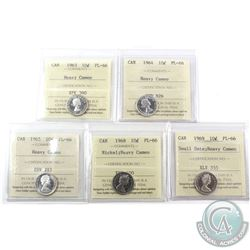 10-cent 1963, 1964, 1965, 1968 Nickel & 1969 Small Date ICCS Certified PL-66 Heavy Cameo. 5pcs