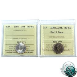 10-cent 1966 & 1969 Small Date ICCS Certified MS-66. 2pcs.
