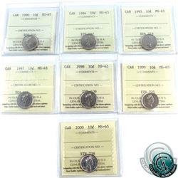 10-cent 1990, 1994, 1995, 1997, 1998, 1999, 2000 ICCS Certified MS-65. 7pcs.