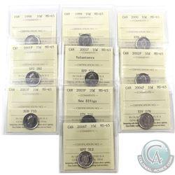 10-cent 1998, 1999, 2000, 2001P, 2001P Volunteers, 2002P, 2003P, 2003P New Effigy, 2004P & 2006P ICC