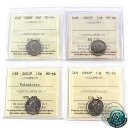 10-cent 2000, 2001P, 2001P Volunteers, 2002P ICCS Certified MS-66. 4pcs.