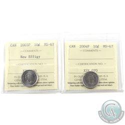 10-cent 2003P New Effigy & 2004P ICCS Certified MS-67. 2pcs