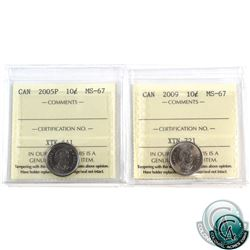 10-cent 2005P & 2009 ICCS Certified MS-67. Both coins tied for finest known. 2pcs.