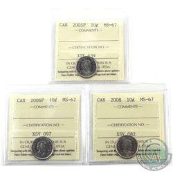 10-cent 2005P, 2006P & 2008 ICCS Certified MS-67. 3pcs
