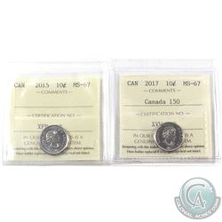 10-cent 2015 & 2017 Canada 150 ICCS Certified MS-67. 2pcs