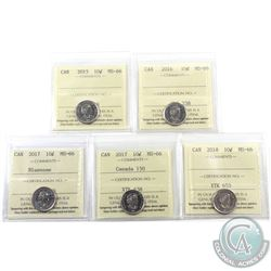 10-cent 2015, 2016, 2017 Bluenose, 2017 Canada 150 & 2018 ICCS Certified MS-66. 5pcs