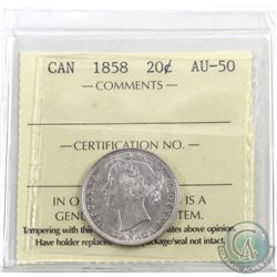 20-cent 1858 ICCS Certified AU-50. Very attractive coin brightly lit with plenty of mint lustre.