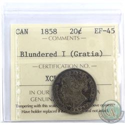 20-cent 1858 Blundered I (Gratia) ICCS Certified EF-45