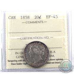 """20-cent 1858 ICCS Certified EF-45. Attractive """"bullseye"""" toning of blues and violets."""