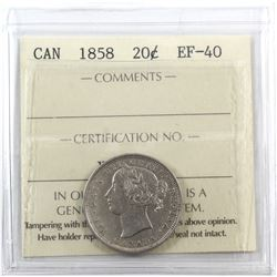 20-cent 1858 ICCS Certified EF-40