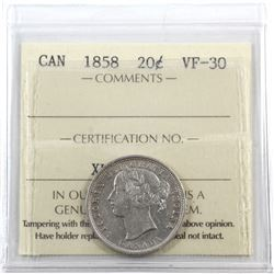 20-cent 1858 ICCS Certified VF-30