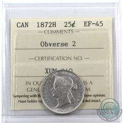 25-cent 1872H Obverse 2 ICCS Certified EF-45.