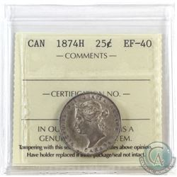25-cent 1874H ICCS Certified EF-40.  A soft grey patina with lots of underlying mint lustre.