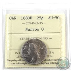 25-cent 1880H Narrow 0 ICCS Certified AU-50 (toning on obverse)