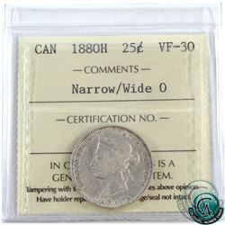 25-cent 1880H Narrow/Wide O ICCS Certified VF-30. A nice example of a scarce variety!
