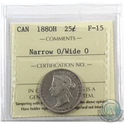 25-cent 1880H Narrow 0/Wide 0 ICCS Certified F-15.