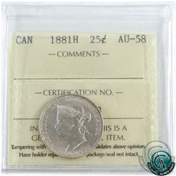 25-cent 1881H ICCS Certified AU-58. Well struck coin! This coin exhibits crisp details and shows as