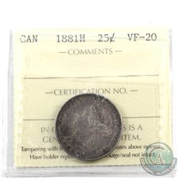 25-cent 1881H ICCS Certified VF-20