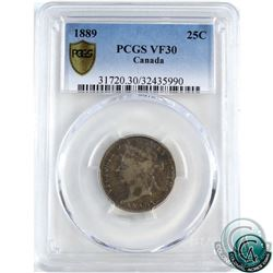 25-cent 1889 PCGS Certified VF-30. *KEY DATE*