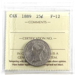 25-cent 1889 ICCS Certified F-12 *Key Date*