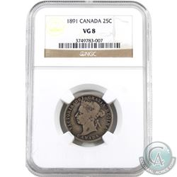 25-cent 1891 NGC Certified VG-8