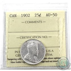 25-cent 1902 ICCS Certified AU-50. Blast white with original lustre showing.
