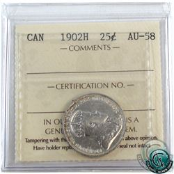 25-cent 1902H ICCS Certified AU-58. A bright coin with rainbow toning around the rim