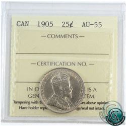 25-cent 1905 ICCS Certified AU-55! *KEY DATE*