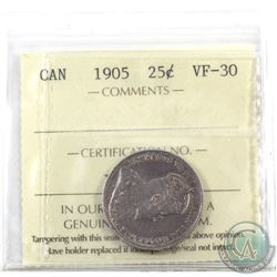 25-cent 1905 ICCS Certified VF-30. Nice even toning.
