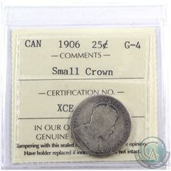 25-cent 1906 Small Crown ICCS Certified G-4. Very strong date and lettering for this grade. Worth a