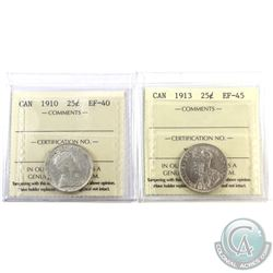 25-cent 1910 EF-40 & 1913 EF-45 ICCS Certified. 2pcs