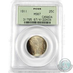 25-cent 1911 PCGS Certified MS-67. TOP GRADE POP=2!