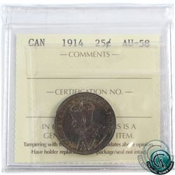 25-cent 1914 ICCS Certified AU-58. This coin has very attractive toning with deep indigo blues and v
