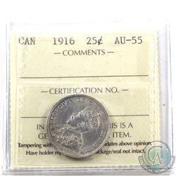 25-cent 1916 ICCS Certified AU-55.