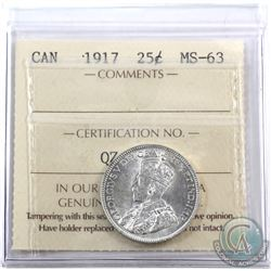 25-cent 1917 ICCS Certified MS-63.