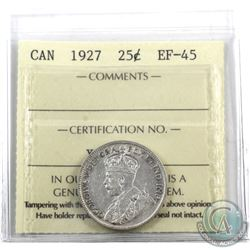 25-cent 1927 ICCS Certified EF-45. **Key Date**