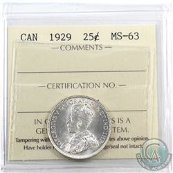 25-cent 1929 ICCS Certified MS-63. Blast white!