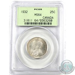 25-cent 1932 PCGS Certified MS-64! Light coin with some soft rose tones with frosted white underlyin